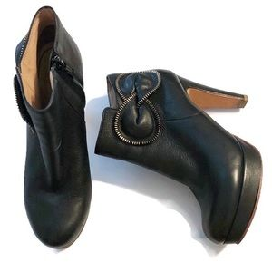 See by Chloe black platform ankle bow boots 38.5